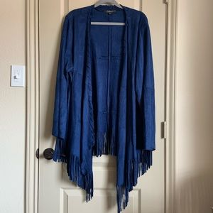 Plus blue fringe jacket